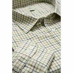 Hoggs Of Fife Pure Cotton Tattersall Tan, Navy & Green Checked Shirt