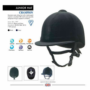 Champion Junior Riding Hat - Black