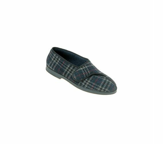 Great British Slippers BILL Mens Touch Fastening Comfort Full Slippers Check