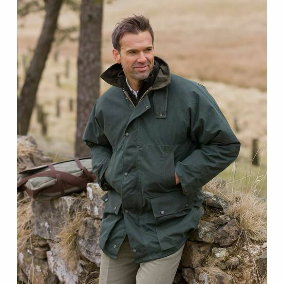 Hoggs Of Fife Men's Padded Waxed Jacket - Olive Green