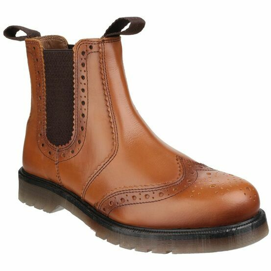 Amblers Dalby Pull On Brogue Boots (Tan)
