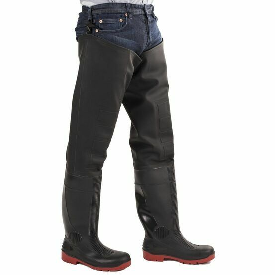 Amblers Safety Rhone Thigh Safety Waders - Black/Red