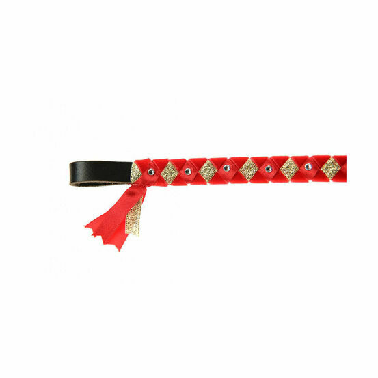 ShowQuest York Brow Band - Red/Red/Gold with Crystals