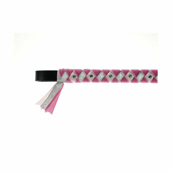 ShowQuest York Brow Band - Cerise/Pale Pink/Silver with Crystals