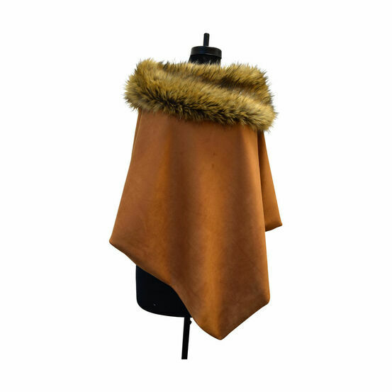 George & Dotty Suedette Gayle Cape - Brown Tan - One Size