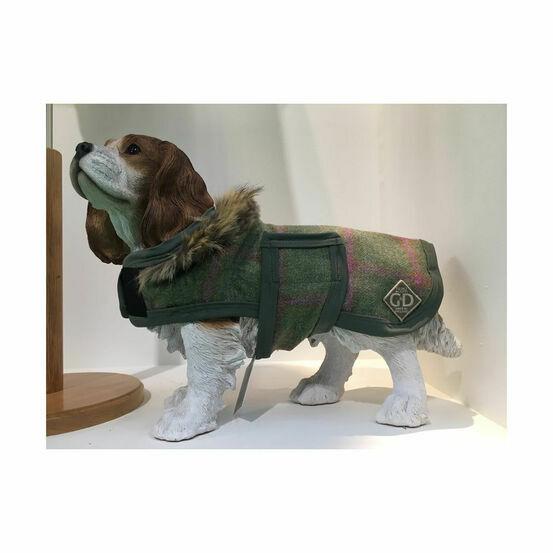 George & Dotty Toto Dog Rug - Light Olive/Raspberry Tweed