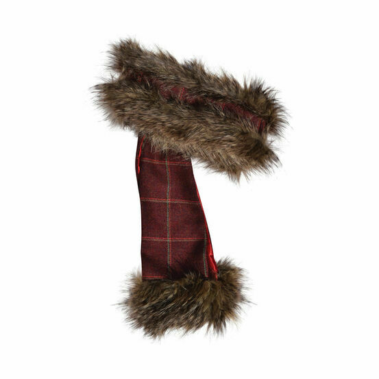 George & Dotty Henrietta Headband and Scarf Set - Light Brown Faux-Fur with a Light Burgundy and Olive/Red Check Tweed Lining - One Size