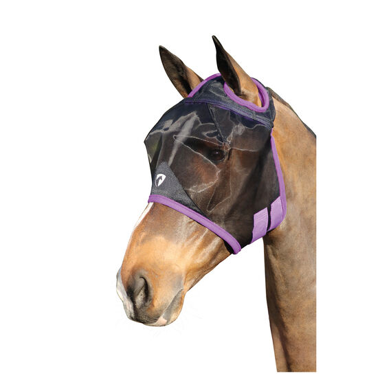 Hy Equestrian Mesh Half Mask without Ears - Black/Grape Royal