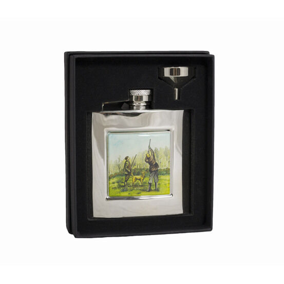 Bisley 6oz Square Stainless Steel Shooting Flask In Gift Box