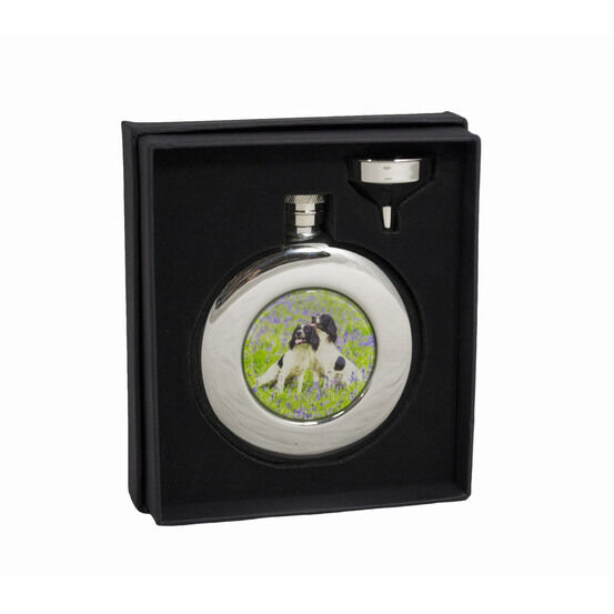 Bisley Round Spaniels Steel Hip Flask - 4.5oz (With Presentation Box)