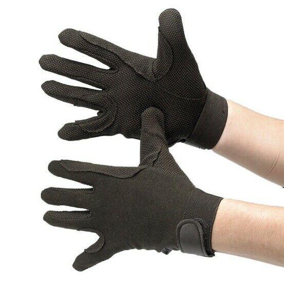 Hy5 Cotton Pimple Palm Riding Gloves - Black