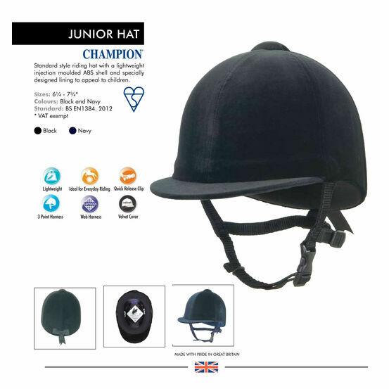 Champion Junior Horse Riding Hat - Black