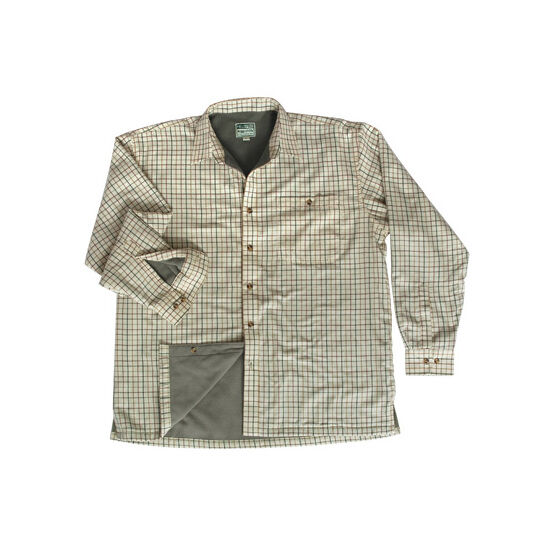 Hoggs Of Fife Birch Micro-Fleece Lined Checked Shirt - Olive/Tan