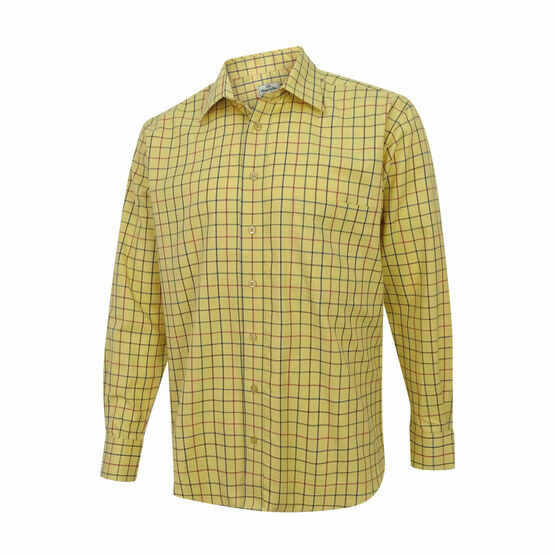 Hoggs Of Fife Governor Premier Tattersall Shirt - Gold Check