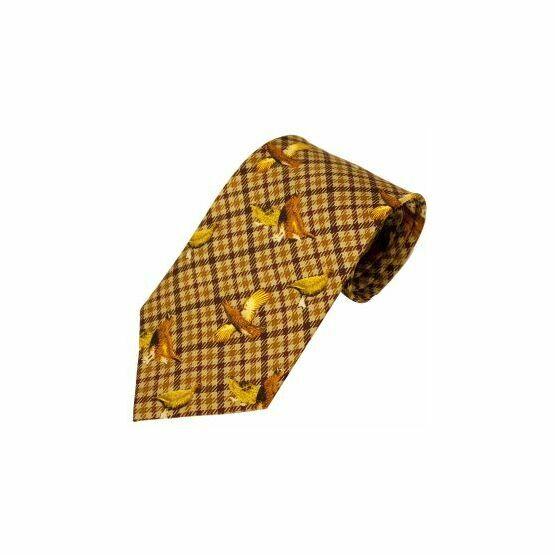 Bisley No.23 Grouse Print Silk Tie - Brown