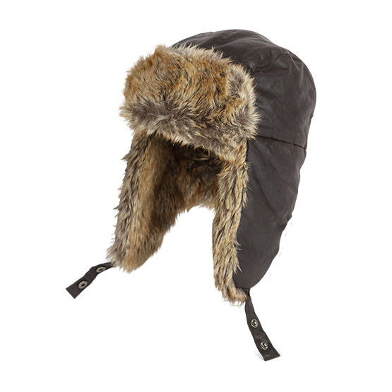 Hoggs Of Fife Waxed Trapper Hat with Faux Fur Trim