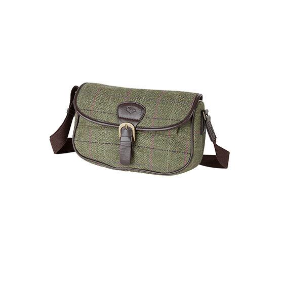 Hoggs of Fife Caledonia Ladies Tweed Cartridge-style Bag in Green multi check