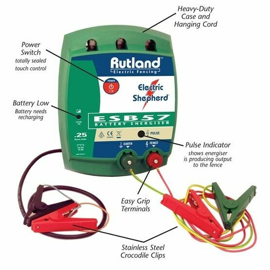 Rutland Battery Fence Energiser 08-057R Touch Control 0.25 Joules