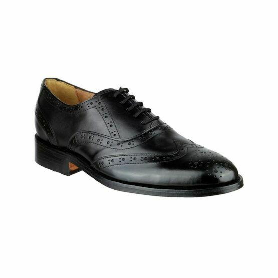 Amblers Ben Leather Soled Black Brogue Shoes
