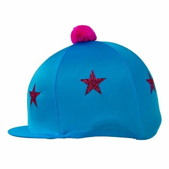 HyFASHION Pom Pom Hat Cover with Glitter Star Pattern - Turquoise/Pink