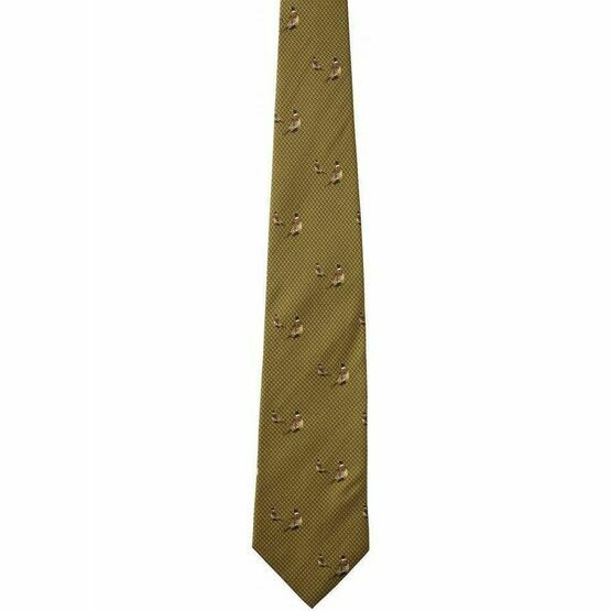 Seeland Morgan Silk Tie - Olive Green Pheasant Pattern