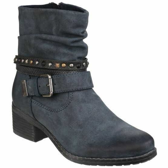 West Zip up Ankle Boot in Navy
