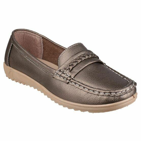 Thames Slip On Loafer Shoe in Pewter