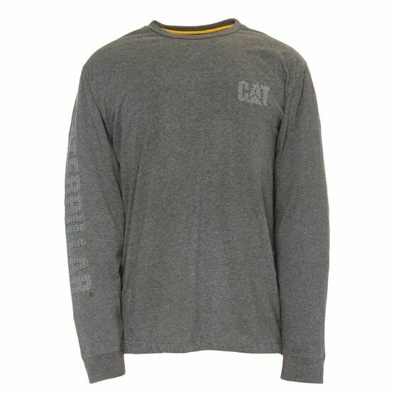 Caterpillar Custom Banner Long Sleeve T Shirt in Dark Grey