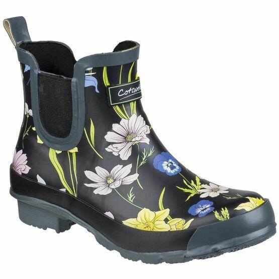 Cotswold Bownham Short Wellington Boot in Black/Floral