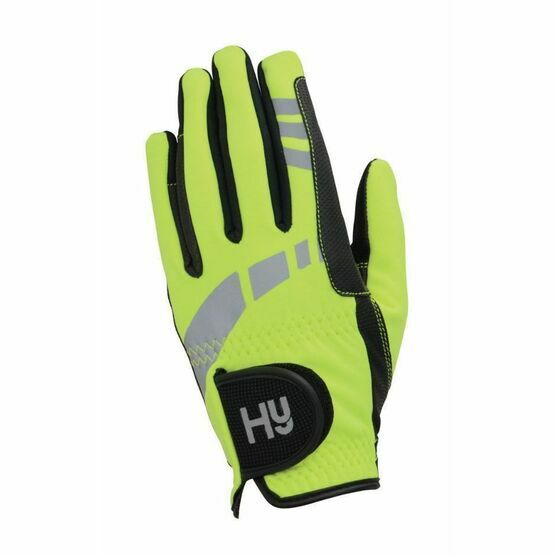 HY5 Child\'s Reflective Yellow Softshell Riding Gloves