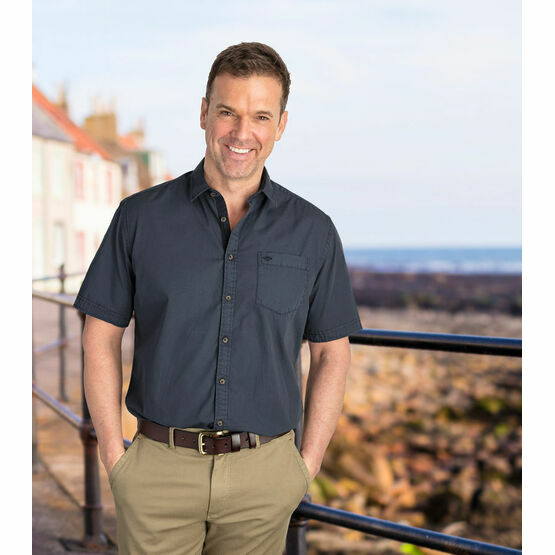 Hoggs Speyside Short Sleeved Plain Shirt - Blue