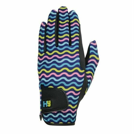 Hy5 Lightweight Printed Riding Gloves - Yellow, Teal & Pink
