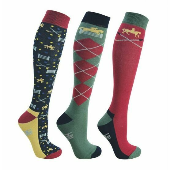 HyFashion Polo Socks 3 Pack - Black/Redcurrant/Blue/Green