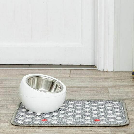 Pet Rebellion Mini Mate Dotty Dog Bowl Mat - Grey (30 x 40cm)