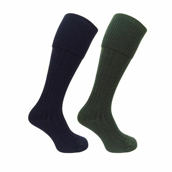 Hoggs of Fife 1902 Plain Turnover Top Stockings in Dark Olive/Navy (Twin Pack)