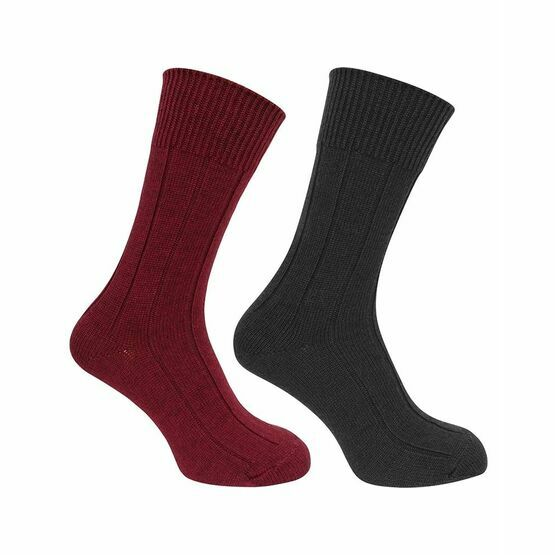 Hoggs of Fife 1906 Brogue Merino Country Socks in Burgundy/Green (Twin Pack)