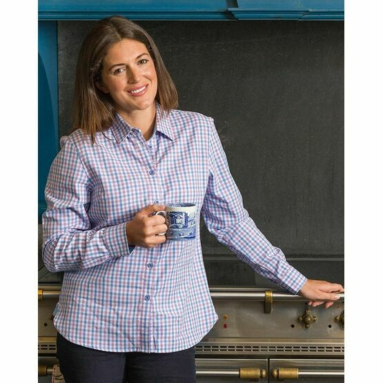 Hoggs of Fife \'Becky\' Ladies Check Cotton Shirt - Pink/Blue
