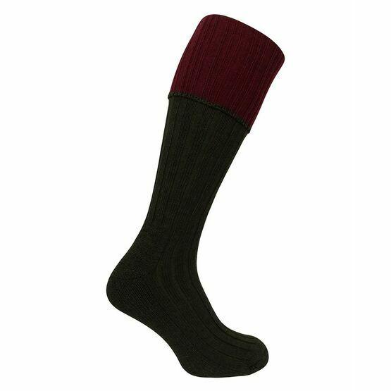 Hoggs of Fife Contrast Turnover Top Socks in Dark Green/Burgundy (1 pack)