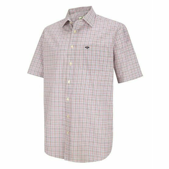 Hoggs of Fife Muirfield Short Sleeve Shirt in Red/Navy Check