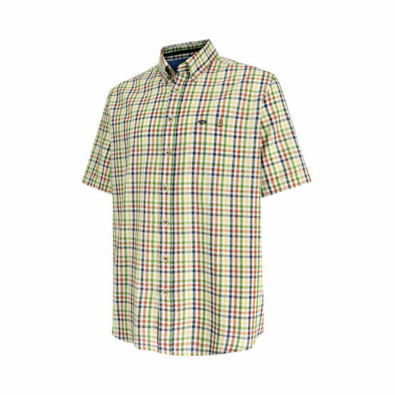 Hoggs of Fife Muirfield Aberdour Short Sleeve Checked Shirt in Gold