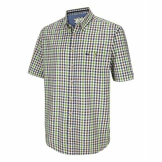 Hoggs of Fife Muirfield Aberdour Short Sleeve Checked Shirt in Navy