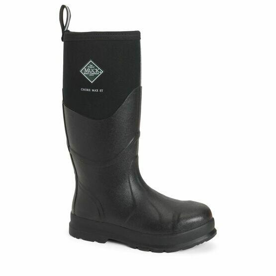 Muck Boots Chore Max Steel Toe Tall Wellington Boots in Black