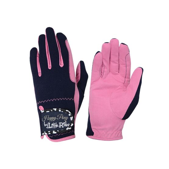 Molly Moo Children\'s Riding Gloves - Rose Pink/Navy