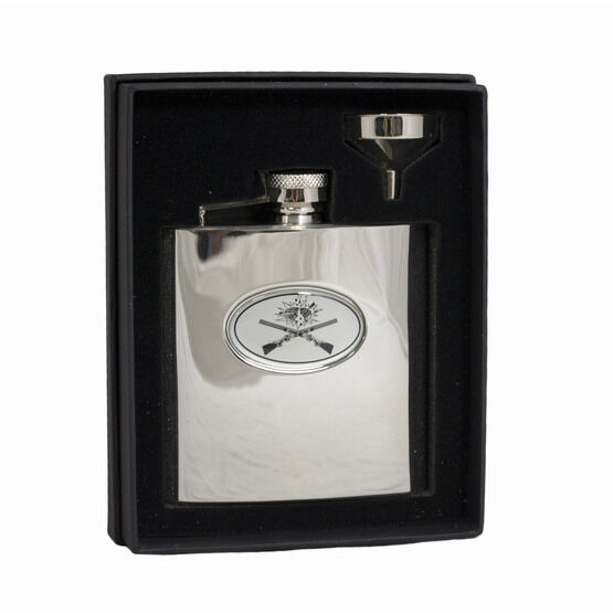 6oz Crossed Guns Hip Flask in Presentation Box by Bisley