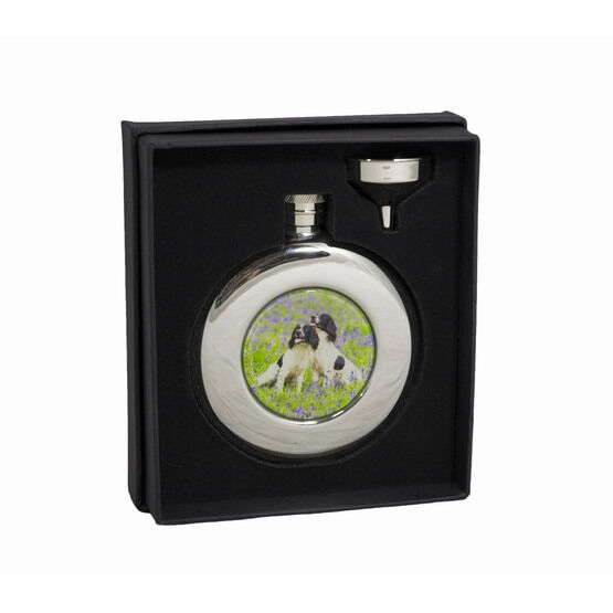 4.5oz Round Spaniels Hip Flask in Presentation Box by Bisley