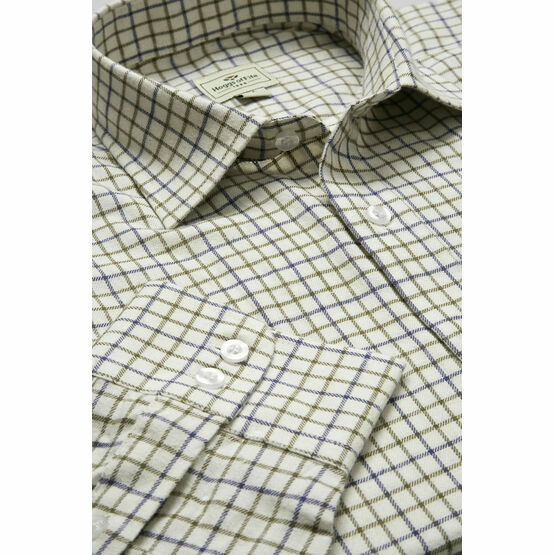 Hoggs Of Fife Pure Cotton Tattersall Navy & Olive Checked Shirt